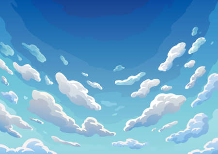 Sky clouds. Morning landscape with clouds and gradient sky, colorful heaven skies background. Realistic backdrop in soft pastel blue colors Ilustração