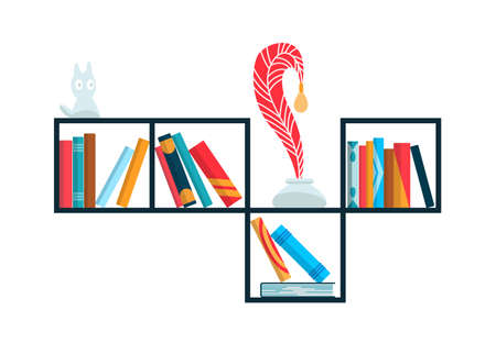 Bookshelf with colorful books. Back to school and education study wall concept. Library interior element. Flat reading books illustration