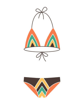 Fashion swimsuit. Flat icon of cartoon trendy female beachwear. Two-piece swimming suit or bathing girls and womans underwear lingerie. Vector colorful swimwear