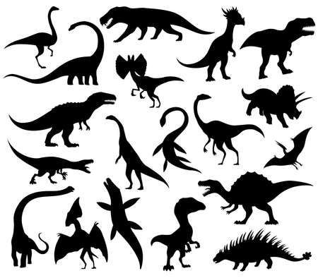 Dinosaurs and dino monsters icons. Predators and herbivores icon collection. Set of black vector silhouettes. Dinosaurs from jurassic period. Triceratops T-rex brontosaurus and others