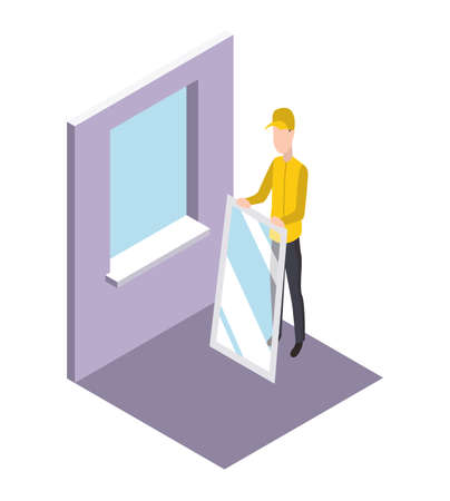 Isometric worker. Home repair isometric form with craftsman who sets the window. Professional people with equipment engaged in their professional activities Ilustração