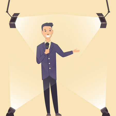 Television show. Young presenter or performer on a standup show on stage. Man in classic style clothes. Cartoon character in the spotlight