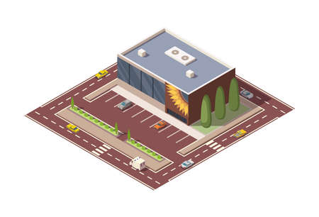 Isometric supermarket or grocery store building and street. Vector isometric icon or infographic element representing mall building with parking lot. 3D shop market for city infrastructure
