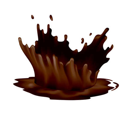 Realistic chocolate splashes. Drops or swirl flow of liquid cacao food on white background. Vector hot drink template. Delicious dark chocolate for confectionery desserts advertisement