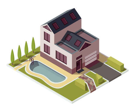 Isometric cottage. Building of private real estate for infographics or game design. Home with area, elements of the landscape design and pool. Infographic element representing suburban building