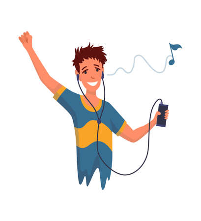 Man listening to music. Hand dancing of cartoon young character with earphone. Joyful people wearing headphone. Using audio player to enjoy sound