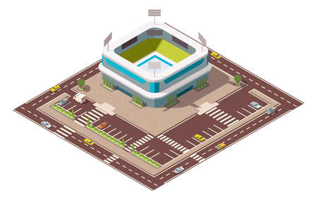 Isometric sport arena. Place for biggest sport competitions. Vector icon or infographic element representing football basketball or hockey stadium with cars and buses on the street