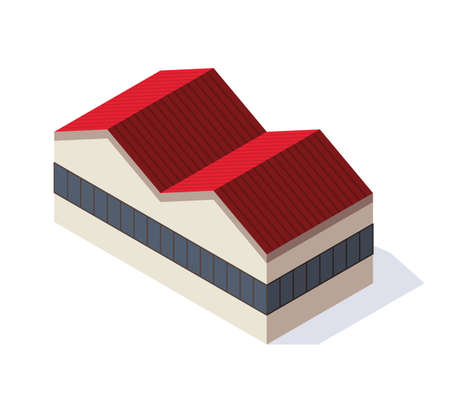 Factory isometric. Architecture of manufactures house. Industrial bulding. Concept of industrial working plant. Vector flat style