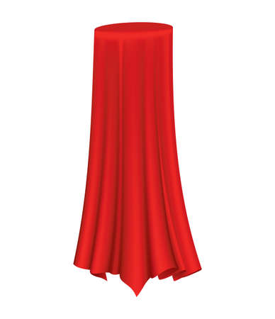Covered object. Red silk fabric curtain cover. Revealer cloth realistic curtain for exhibition with a hidden object. Isolated object inside draped cloth on white background