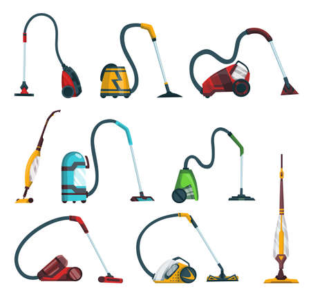 Vacuum cleaner modern icons set. Carpet cleaner items and washing robot cyclones. Cartoon vector cleaning equipment for home, office or car