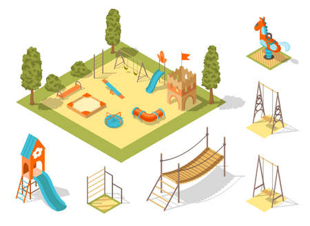 Isometric playground concept for outdoor family pastime. Playful kindergarten. Colored 3d isometric kids playground with park objects and gaming complexes Ilustração