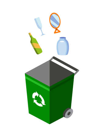 Garbage can for sorting. Recycling elements. Colored waste bin with glass trash. Separation of waste on garbage can. Waste management concept Ilustração