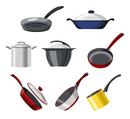 Cooking pans and pots colorful vector collection. Set of isolated icons skillet, saucepan for soup, roasting pan, and more cookware for cooking. Utensils logo design for frying food processing