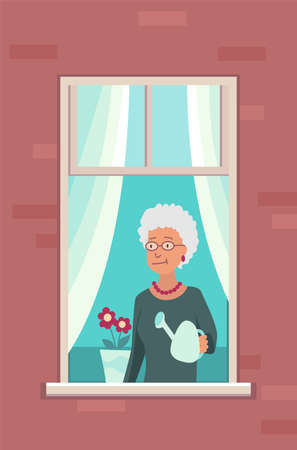 Window with people. Apartment building with people in open window spaces. Outer wall of house with old woman who watering flowers. Human life concept. Block of flat house friendship concept
