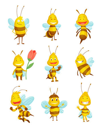 Various vartoon bees insects. Character of happy fly illustration. Cute honey harvester characters for kids. Smiley animals Ilustração