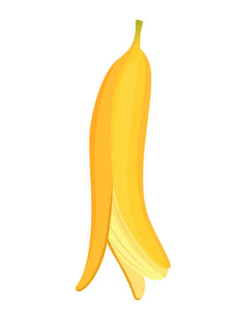 Cartoon banana. Tropical fruit, banana snack or vegetarian nutrition. Fruit and ripe sweet food. Yellow cartoon single banana Ilustração