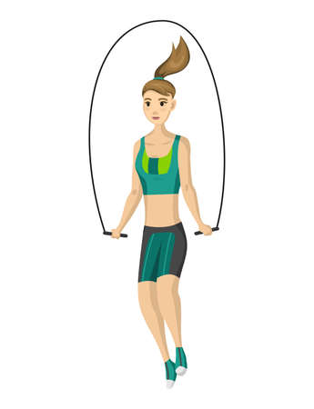 Woman fitness. Icon of girl doing sport exercises. Active and healthy life concept. Female workout fitness, aerobic or exercises. Slim woman in costume doing fitness workout