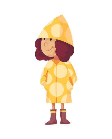 Bad windy rainy weather funny cartoon people icon. Girl in raincoat and rubber boots standing under rain. Character with rainwear clothes