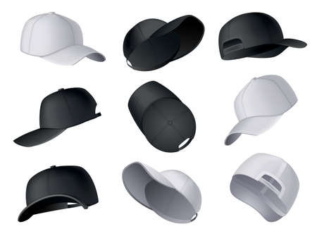 Baseball caps. Realistic baseball cap template front, side, back views. Empty mockup sport hats. Black and white blank caps isolated on white background. Blank template of baseball uniform caps Ilustração