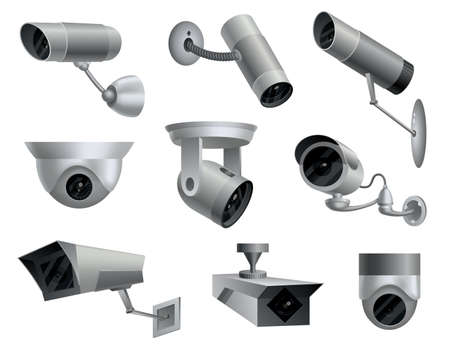 Set of security cameras. Decorative surveillance cameras. Safety home protection system. Illustration of vector cctv and camera signs Ilustração