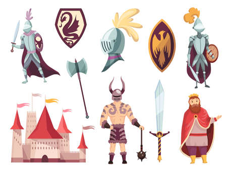 Medieval kingdom characters of middle ages historic period vector Illustrations. Peoples and object set. Knight in full armor, castle, fortress and shields.