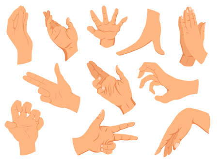 Hands gestures.Vector illustration set hands in different interpretations, showing signal, emotions or signs. Flat design modern concept Ilustração