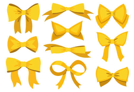 Gold bow set. Cartoon vector yellow luxury design elements of wrap pack. Satin bows with ribbons isolated on white background