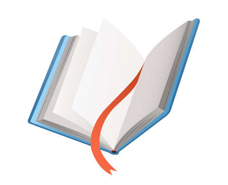 Vector book with bookmark. Learning or education concept. Design of empty book or notebook. Isolated symbol on a white background Vektoros illusztráció