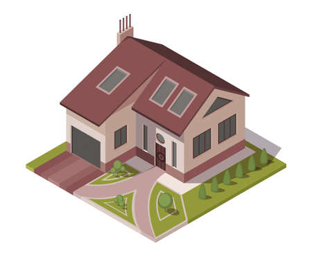 Isometric cottage. Building of private real estate for infographics or game design. Home with area and elements of the landscape design. Infographic element representing suburban building