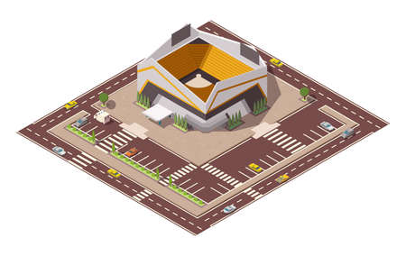 Isometric sport arena. Place for biggest sport competitions. Vector icon or infographic element representing football basketball or hockey stadium with cars and buses on the street Vektoros illusztráció
