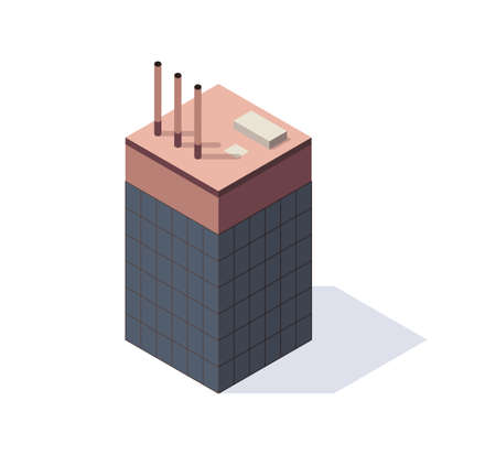 Factory isometric. Architecture of manufactures house. Concept of industrial working plant with chimney tower Vetores