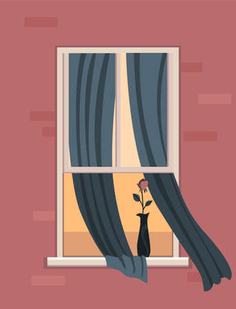 Window with home plant. Apartment building with flower in open window space. Outer wall of house with flower in a vase. Neighbors life concept. Block of flat house concept