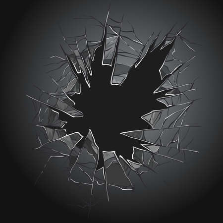 Broken glass. Cracked window. Texture of realistic destruction hole in transparent damaged glass. Vector realistic shattered glass template