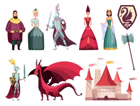 Medieval kingdom characters 2 flat horizontal sets with rider king queen knight castle fortress dragon vector illustration