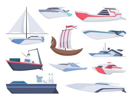 Collection of ships. Sea sailboats of water carriage and maritime transport in modern flat style. Fishing ship and water speedboats isolated transport icons Vector Illustratie