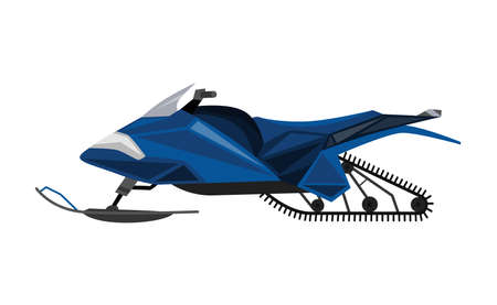 Winter ride on snowmobile. Motor sled, vehicle for extreme travelling on snow and ice, winter recreation. Vector flat style cartoon illustration isolated on white background Vecteurs
