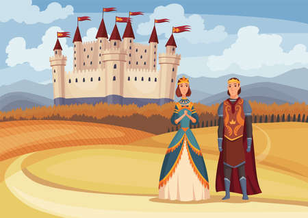 Medieval king and queen on fairytale medieval castle background. Cartoon middle ages historic period. Medieval kingdom characters standing in costumes