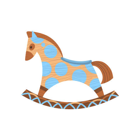 Wooden kid toy. Ecological figure of device for children. Swing horse. Retro cartoon design playing tool for baby. No plastic 矢量图像