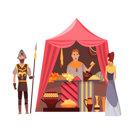 Cartoon medieval fair. Middle ages or fairy tale fair market with characters standing in costumes. Sell various jewelry products