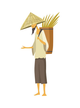 Asian farmer in straw conical hat. Asia rural culture. Chinese farmer carrying yields rice harvest on his shoulders. Vector cartoon illustration 矢量图像