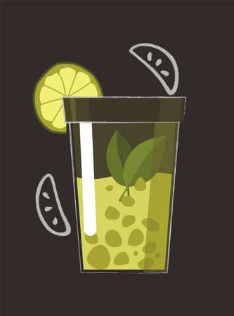 Drawn drink. Summer fruit smoothie drink with fruit flavor. Alcohol cocktail. Doodle smoothie in a jar 矢量图像