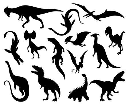 Dinosaurs silhouettes set. Dino monsters icons. Prehistoric reptile monsters. Vector illustration isolated on white. Sketch set 矢量图像