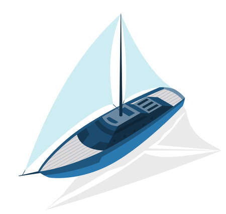 Isometric modern ship. Yacht with large sails. Vector isometric icon or infographic element. Ocean transport 矢量图像