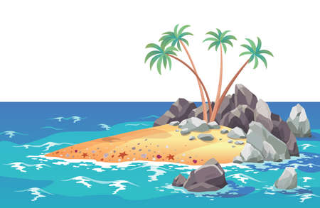 Pirate ocean island in cartoon style. Palm trees on uninhabited sea island. Tropical landscape with sandy beach and tropical nature