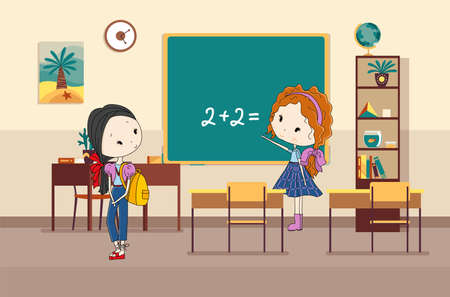 Classroom with pupils. Primary school kids. Modern interior for education. Girls characters ready to study. Place to acquisition of knowledge