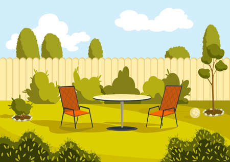 Patio area with cartoon table and chairs. Sunny courtyard area with green grass. Outdoor cartoon backyard background vector illustration 矢量图像