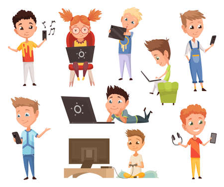Kids who using gadget. Child and modern technology colorful cartoon characters. Childrens watching, listening and playing with electronic devices