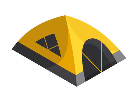 Isometric camping. Colored symbol of hiking. Icon with tool attributes or element of camp equipment. Tourist tent isolated vector illustration 矢量图像