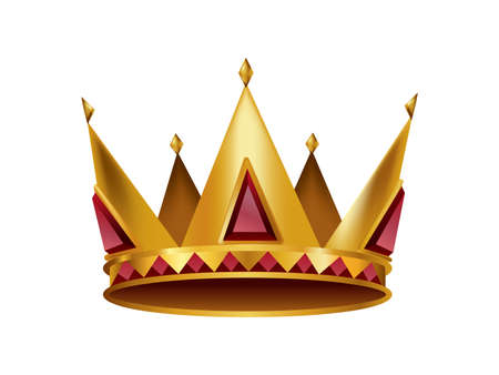 Realistic golden crown. Crowning headdress for king or queen. Royal noble aristocrat monarchy symbol. Monarch heraldic decoration 矢量图像