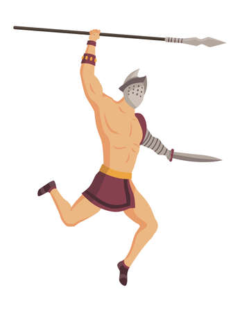 Ancient rome gladiator. Vector roman warrior character in armor with spear and sword. Flat illustration in cartoon style. Militant man ready for battle 矢量图像